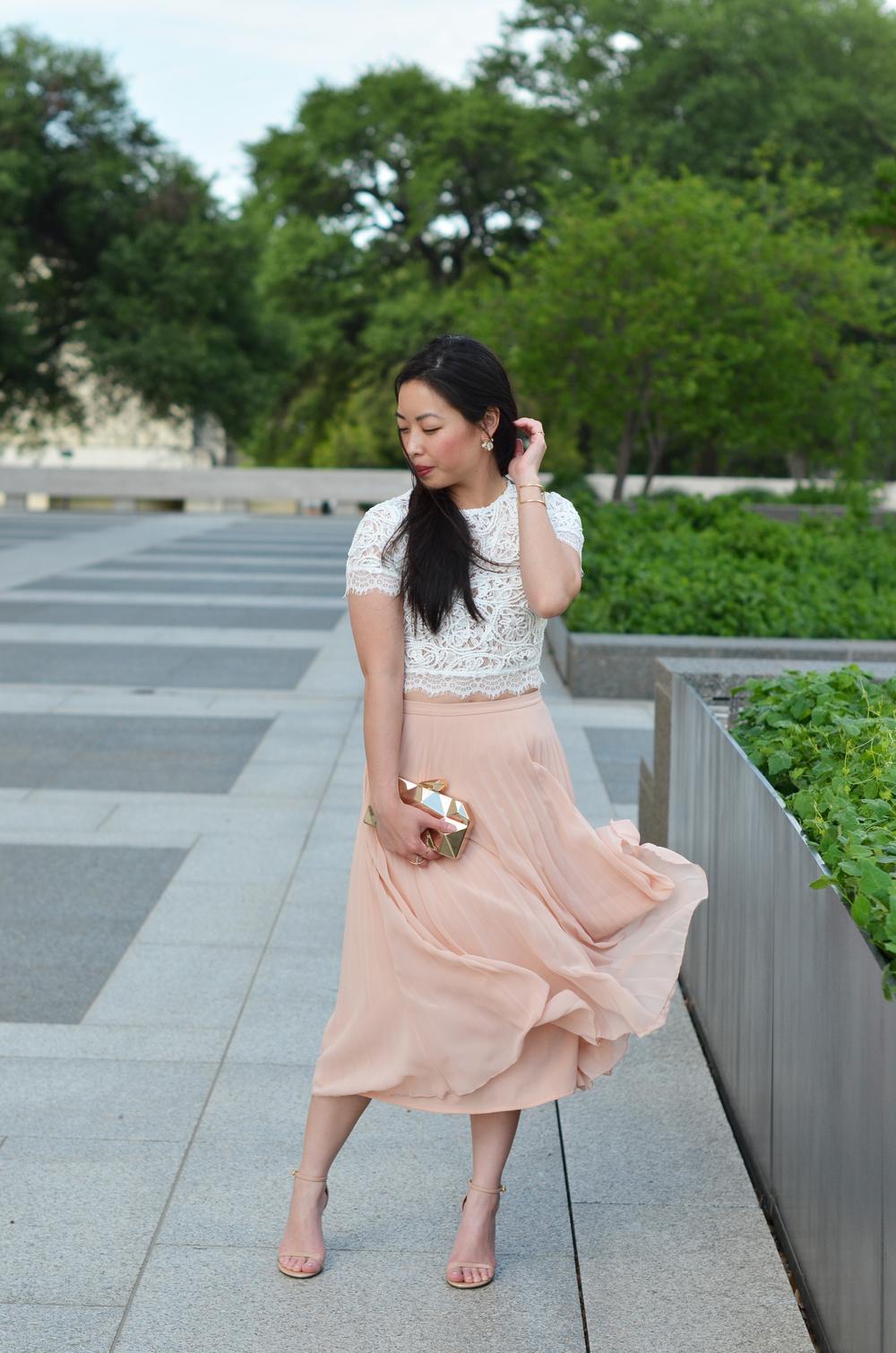 the lace crop top & blush pleated skirt -- jannadoan.com