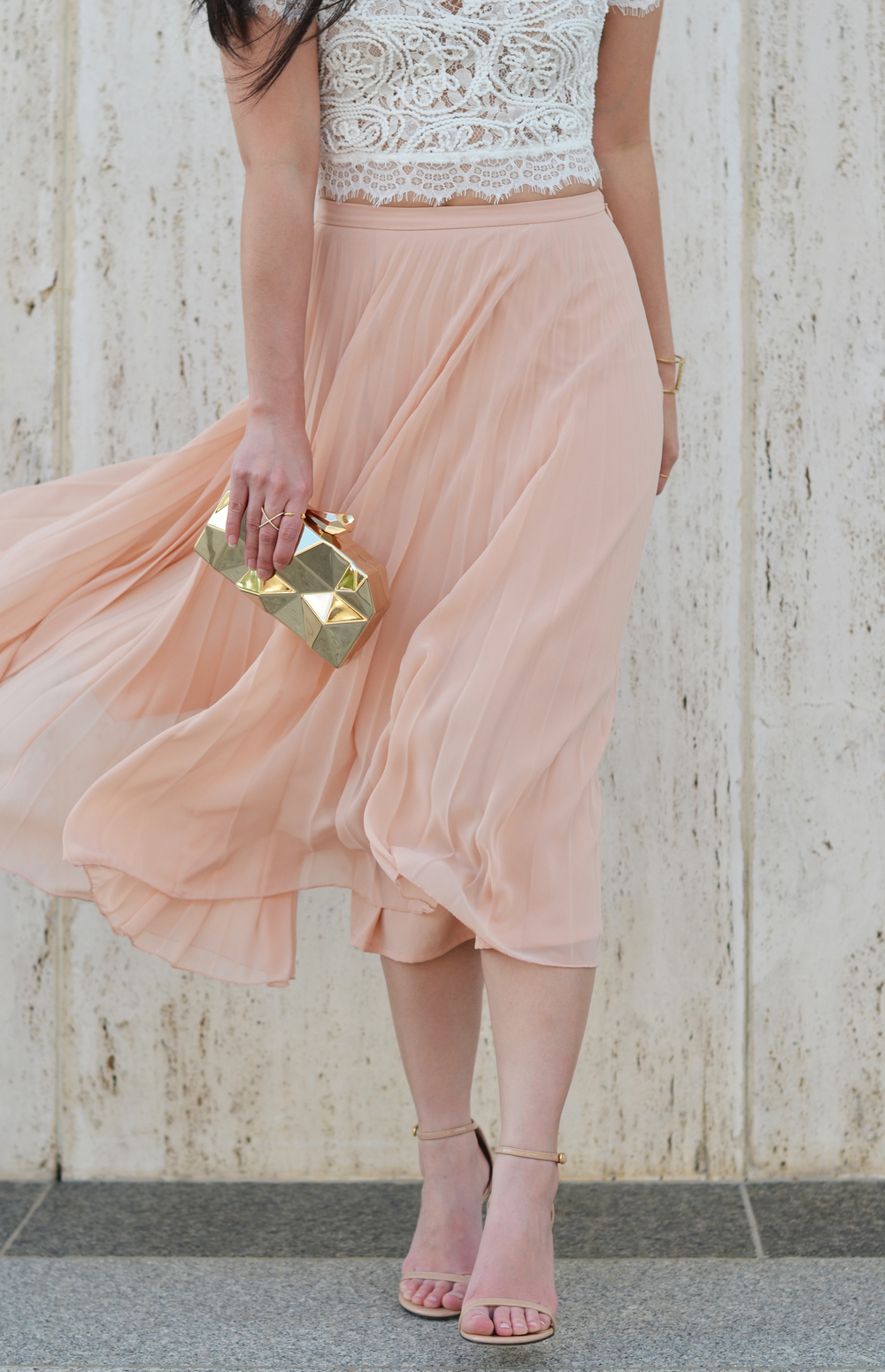 the lace crop top & blush pleated skirt -- jannadoan.com