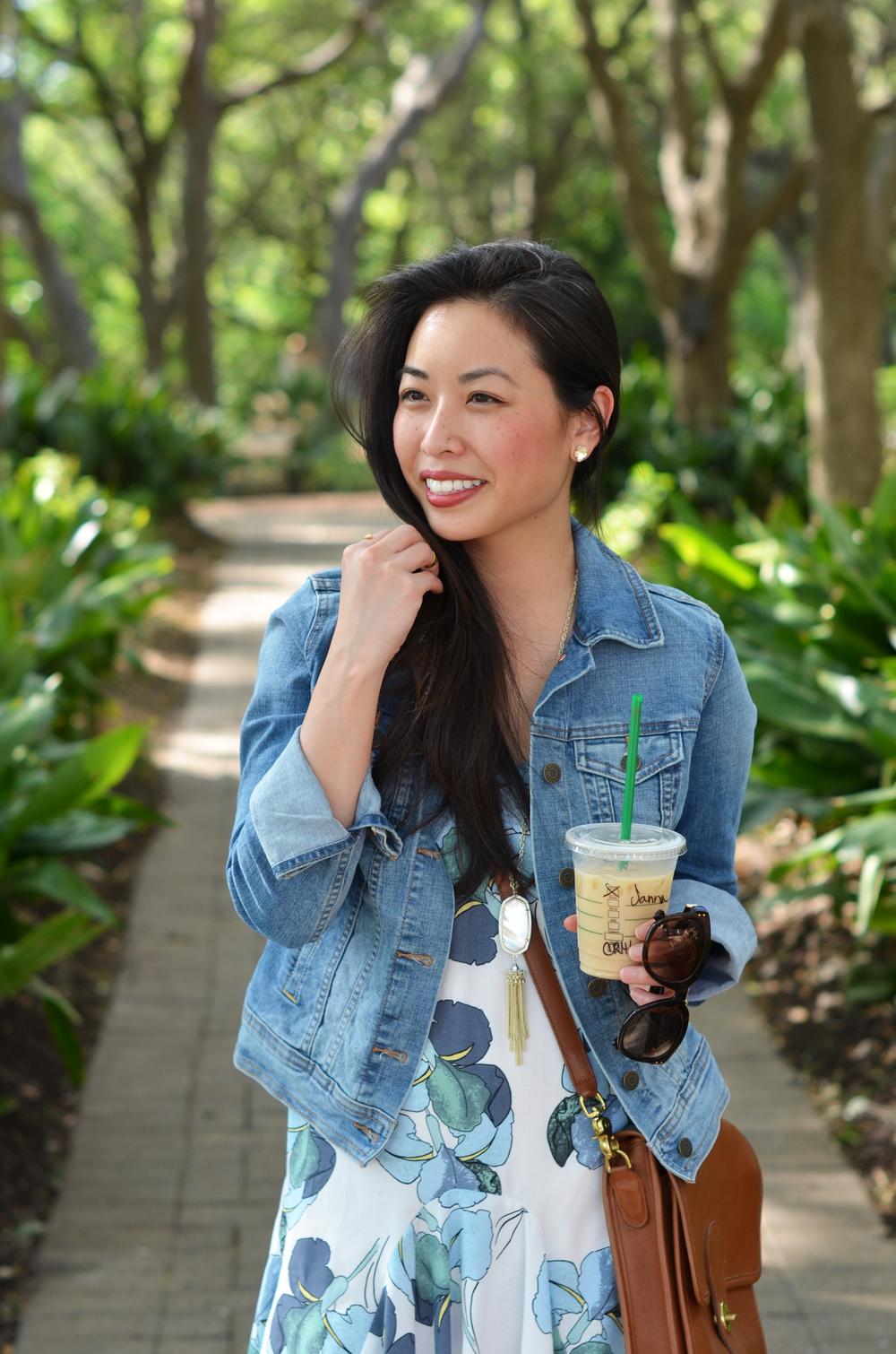 the floral ruffled dress & denim jacket -- jannadoan.com