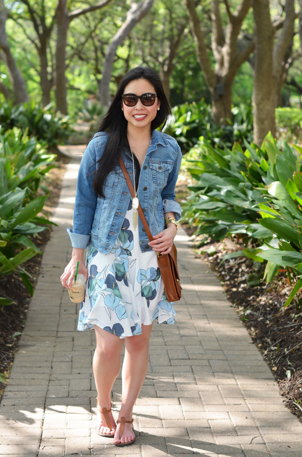 the floral ruffled dress & denim jacket — janna doan