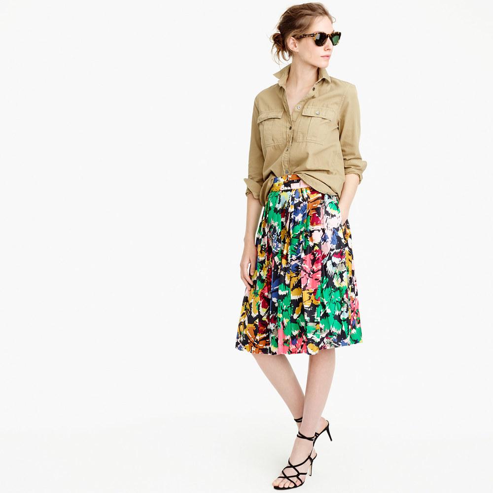Jcew double pleated midi skirt in colorful brushstroke print