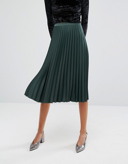 Miss Selfridge satin pleated skirt in green