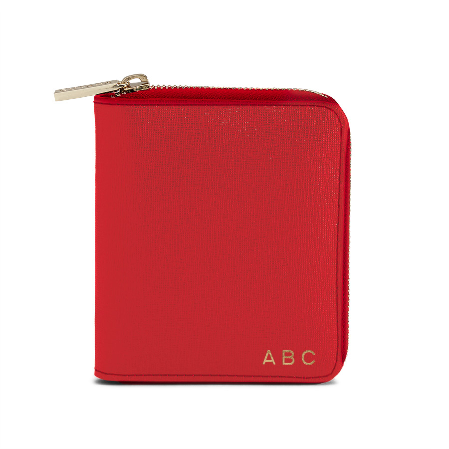 Cuyana small leather zip around wallet in red saffiano