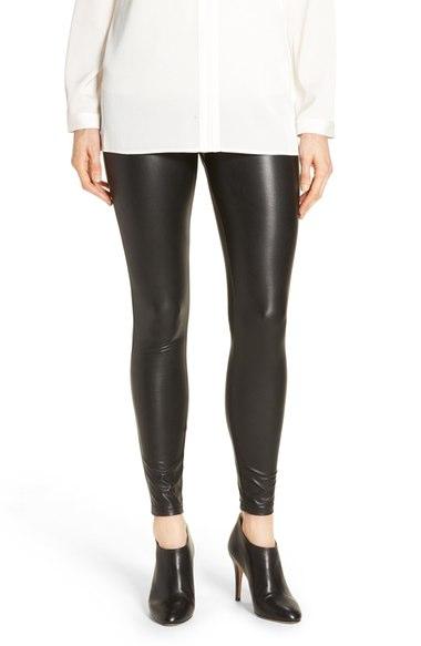 Hue leatherette faux leather leggings in black