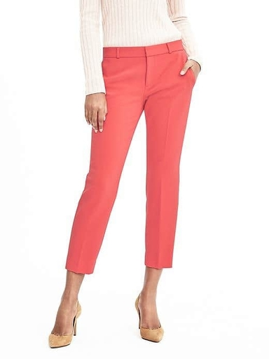 Banana Republic avery tailored cropped pants in fire coral