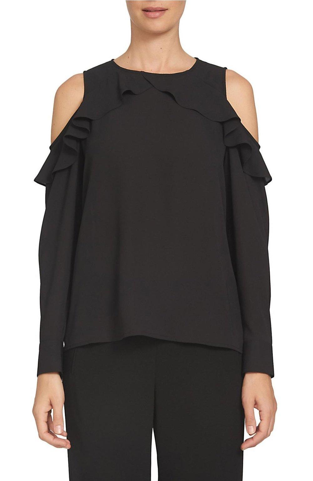 CeCe ruffled cold shoulder blouse in black