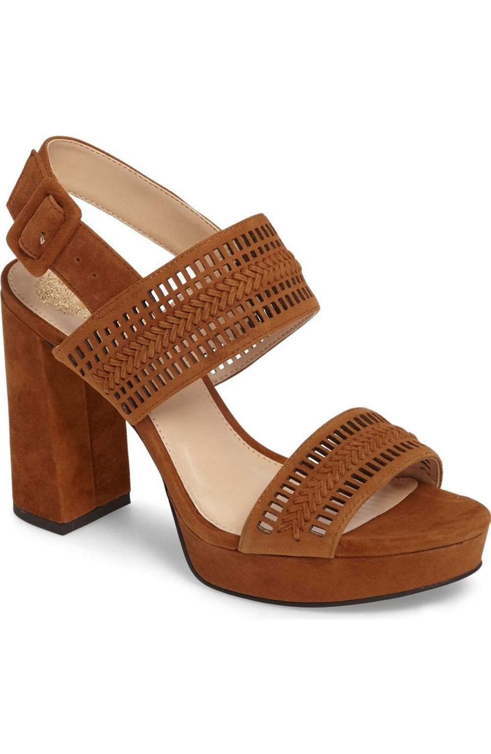 Vince Camuto Jazelle Slingback Platform Sandal in maple brown suede