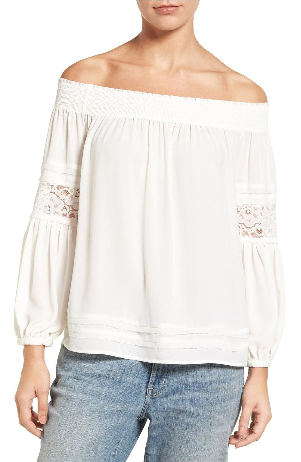 Chelsea28 off the shoulder peasant top in white