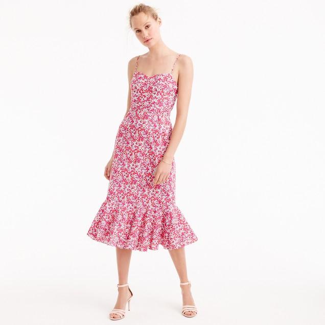 J.Crew Ruffle-hem midi dress in Liberty Wiltshire floral