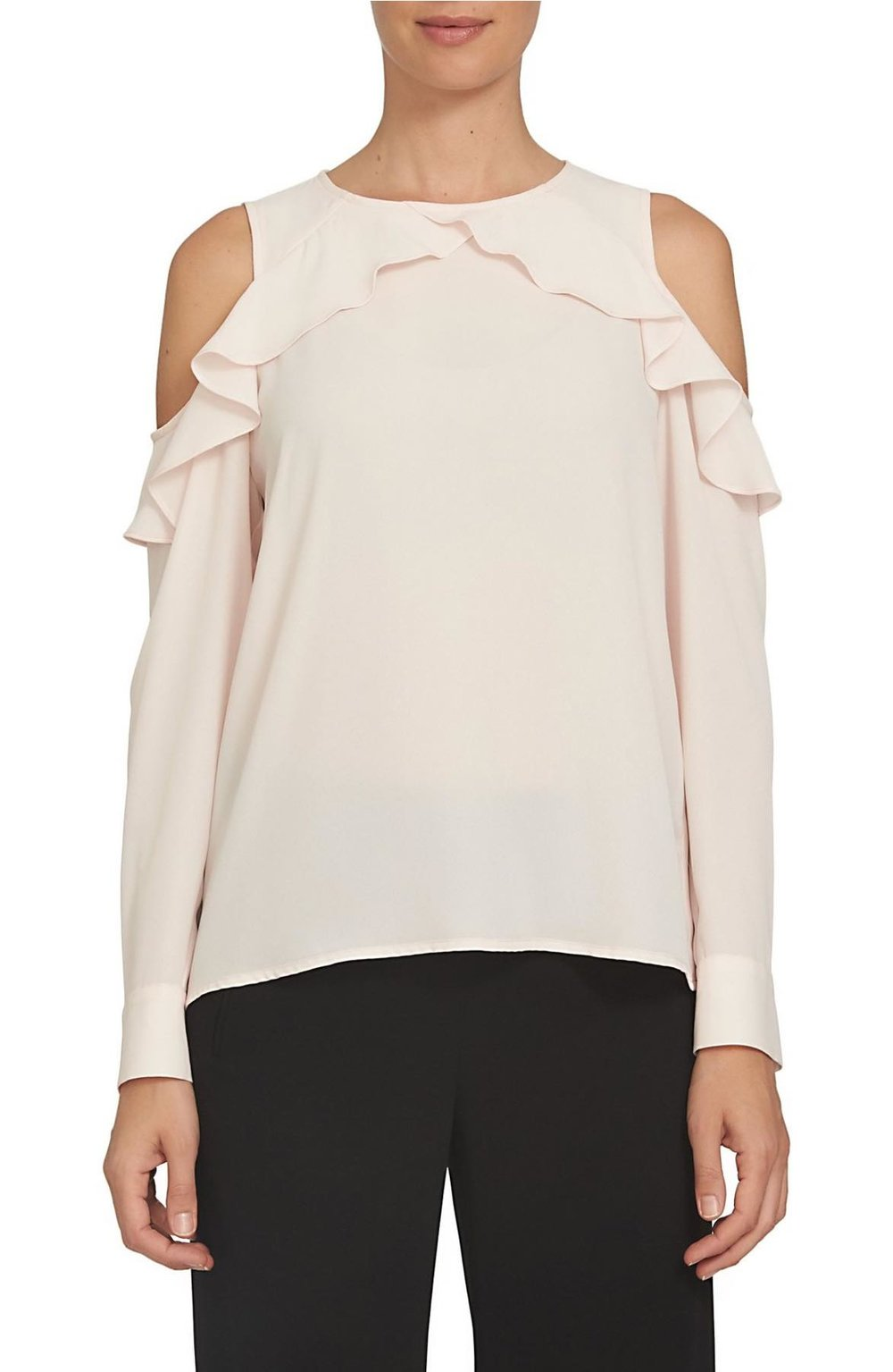 CeCe ruffled cold shoulder blouse in peach rose