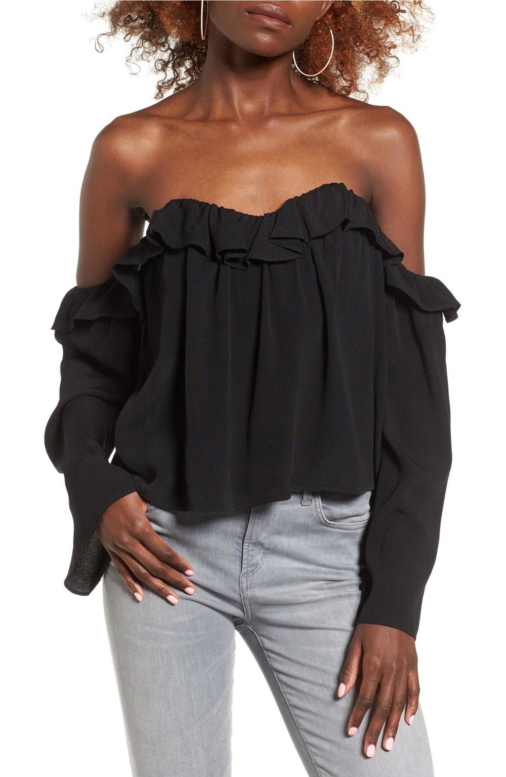 4SI3ENNA ruffle off the shoulder blouse