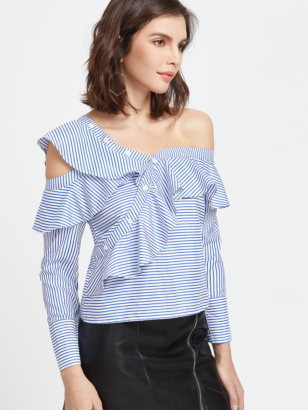Shein Blue Striped Asymmetric Cold Shoulder Ruffle Trim Top