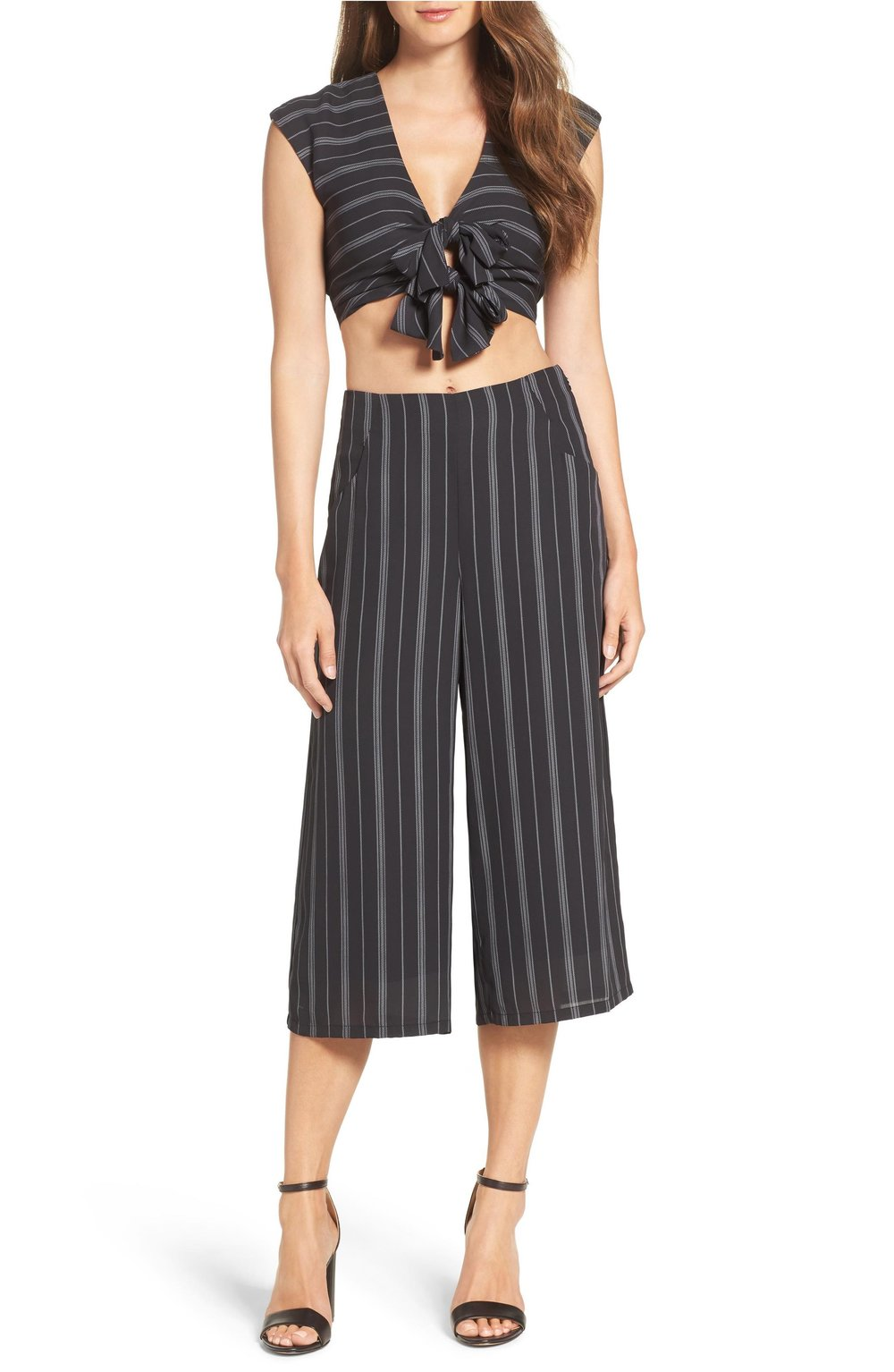 Ali & Jay poolside periodicals crop top & culottes set