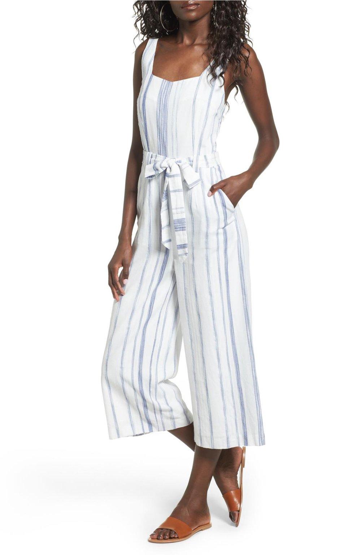 J.O.A. crop striped cotton jumpsuit