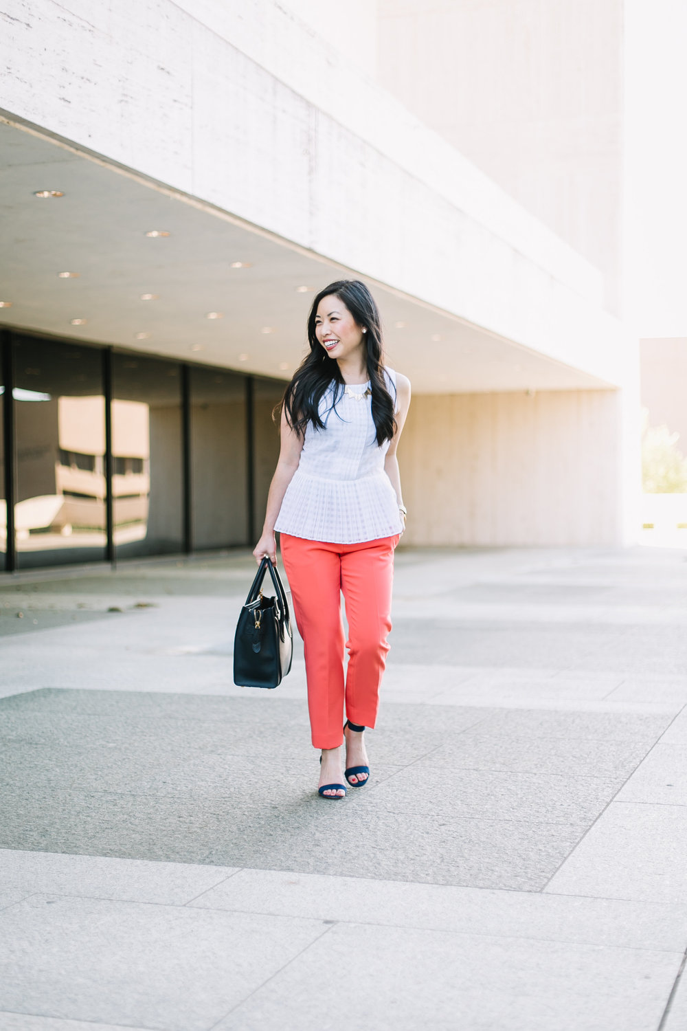 the peplum top & coral pants -- jannadoan.com