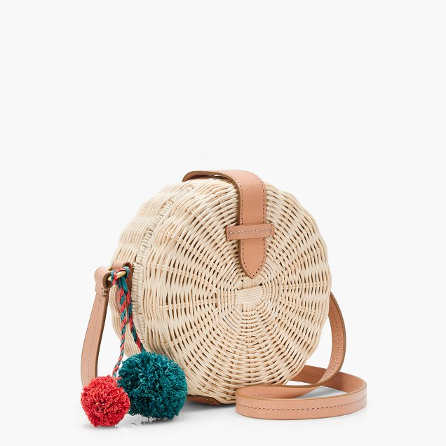 J.Crew circle straw crossbody bag
