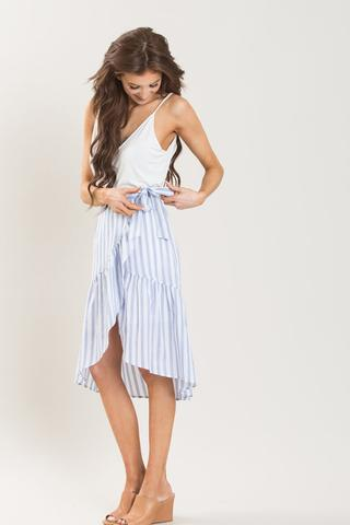 Morning Lavender karen blue striped ruffle wrap skirt