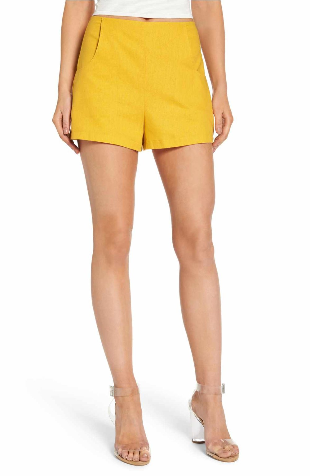 Leith high waist shorts in yellow