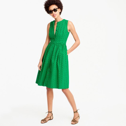 J.Crew eyelet shirtdress in warm clover