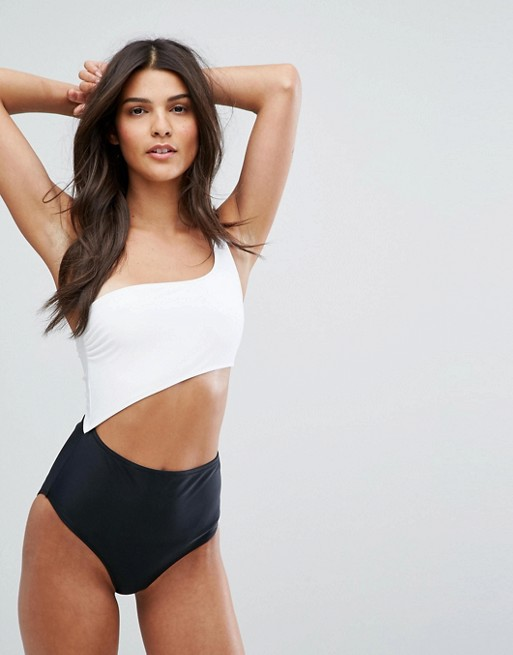 ASOS New Look monochrome one shoulder swimsuit