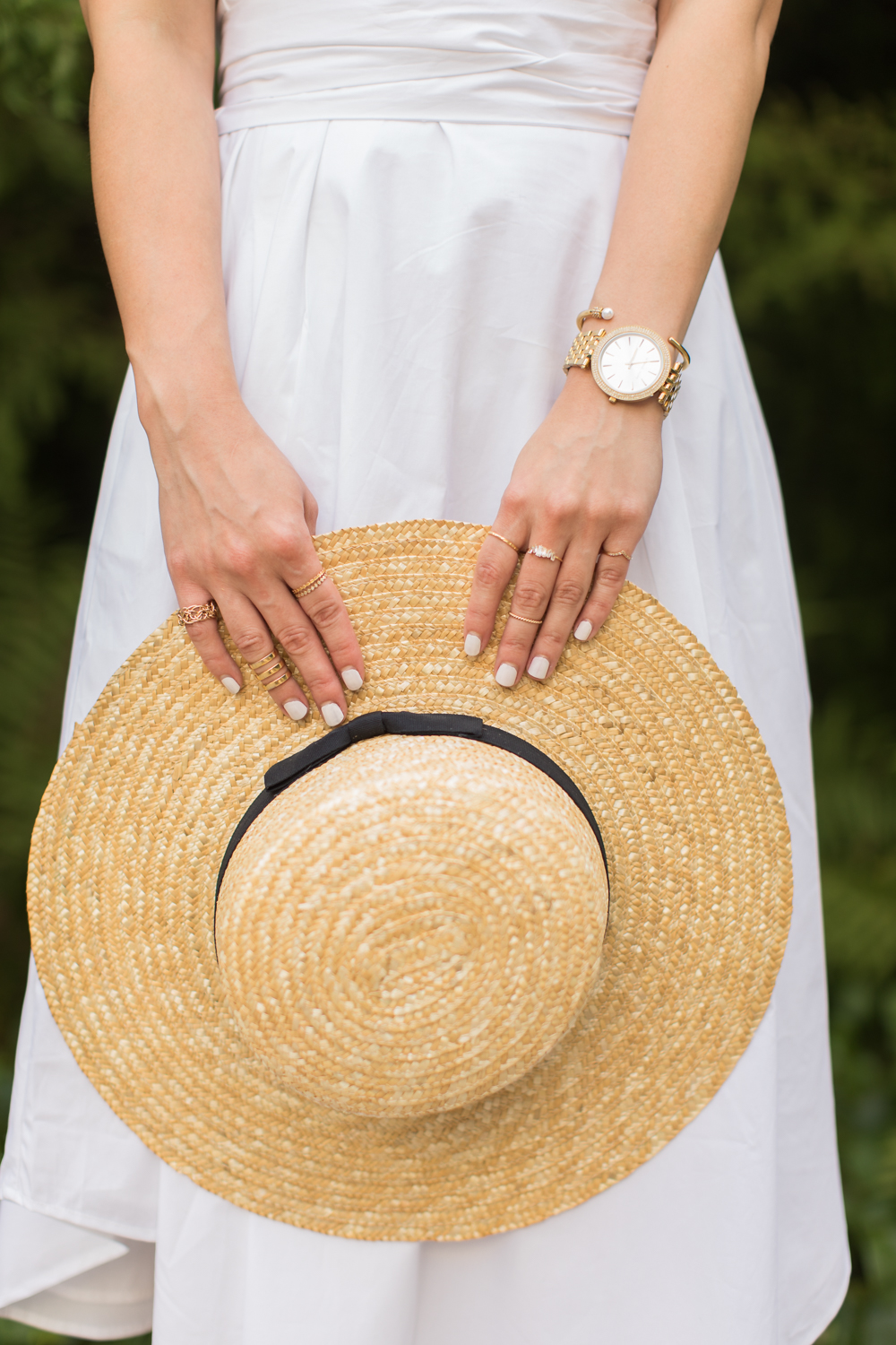 the white one shoulder midi & boater hat -- jannadoan.com