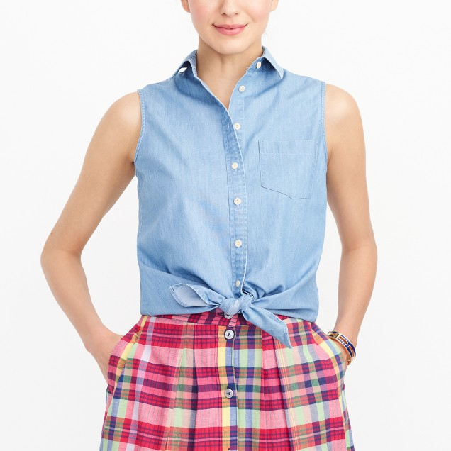 J.Crew Factory chambray tie waist tank top