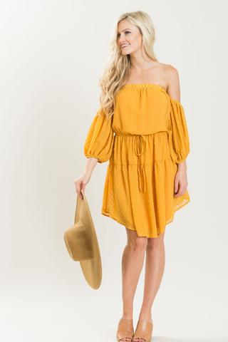 Morning Lavender ella mustard off the shoulder dress