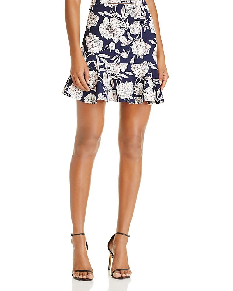 AQUA ruffle hem floral print skirt