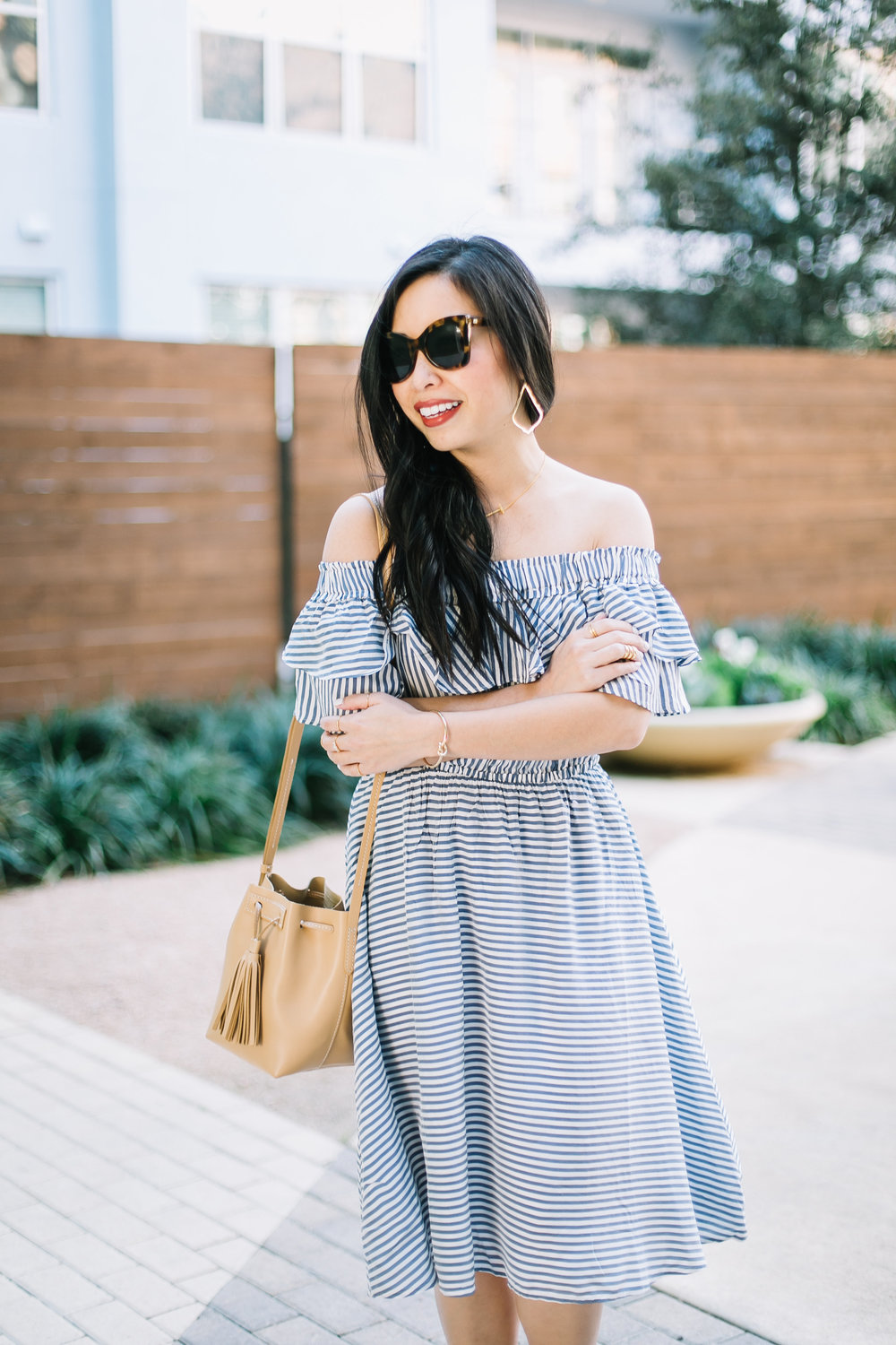 the striped off the shoulder dress -- jannadoan.com