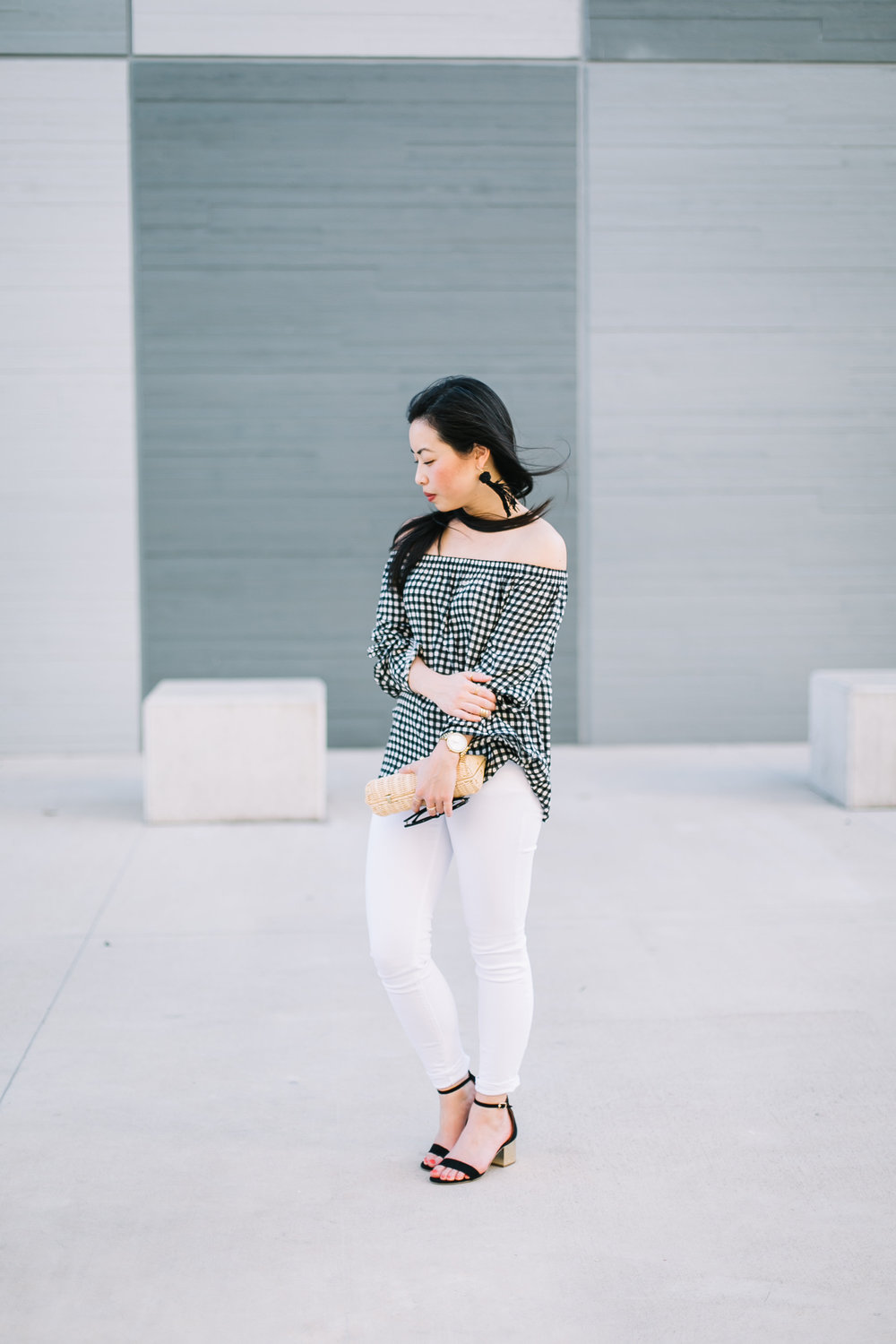 the gingham off the shoulder top -- jannadoan.com