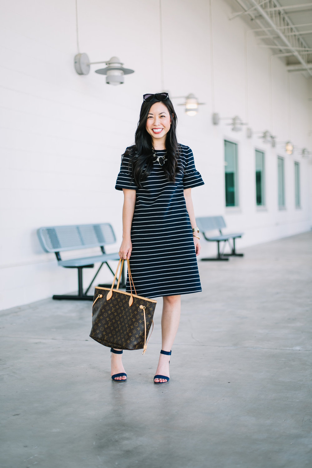 the striped short bell sleeve dress -- jannadoan.com