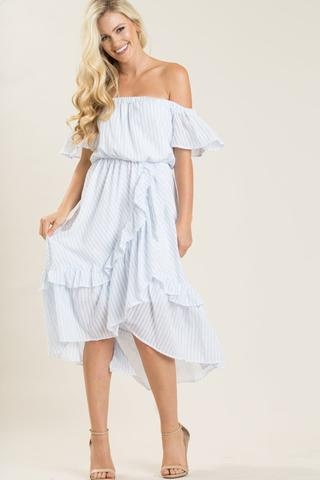 Morning Lavender marianne blue striped off the shoulder dress