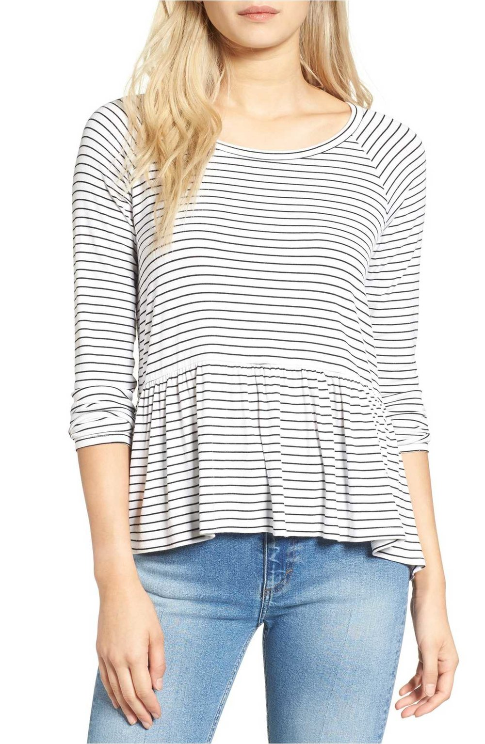 Nordstrom BP striped peplum tee