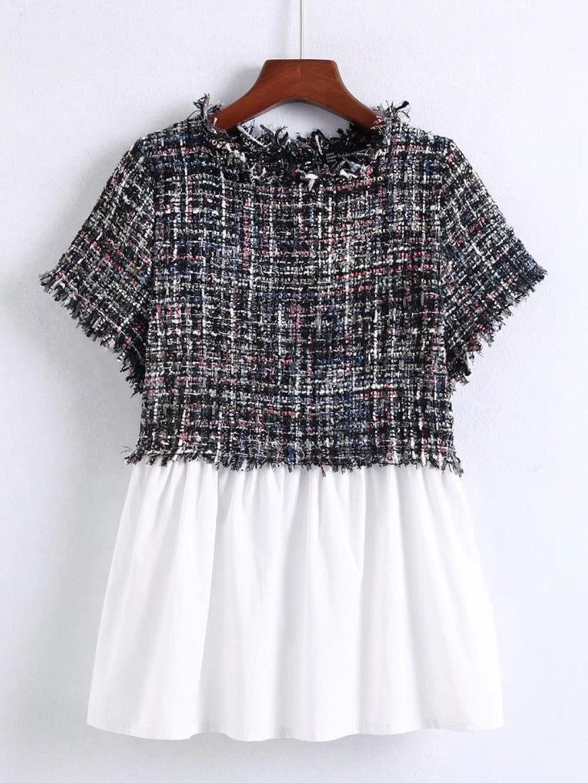 Shein tweed babydoll top