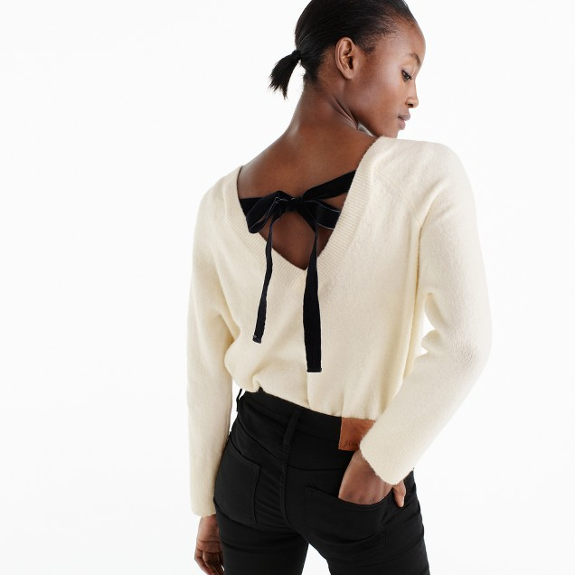 J.Crew v-back sweater with velvet tie