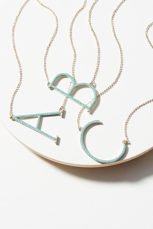 Anthropologie pave monogram necklace
