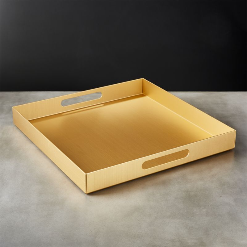 cb2 large gold tray