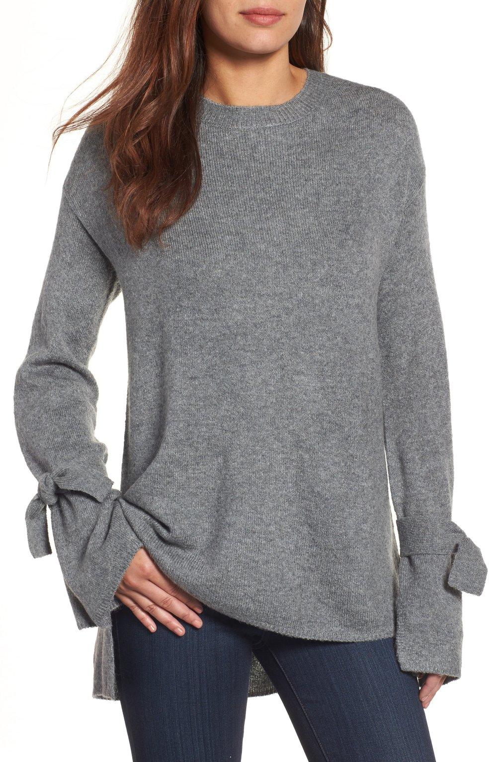 Halogen tie bell sleeve sweater in grey