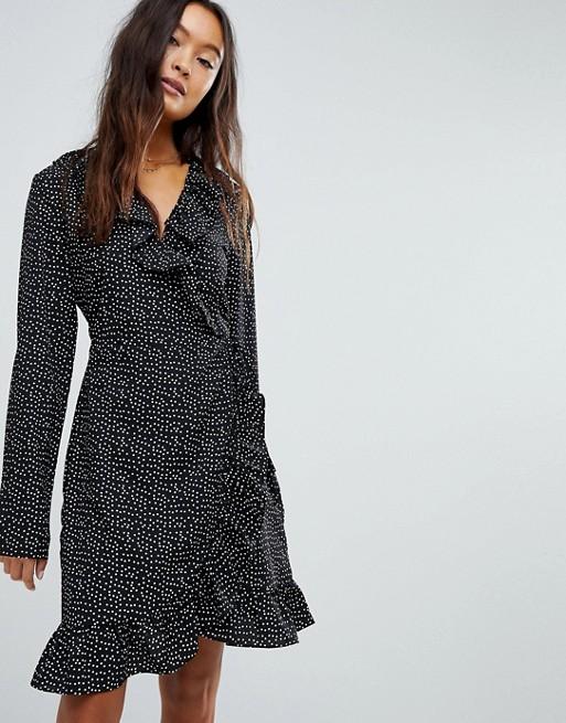 ASOS Vila spotty wrap dress