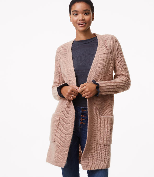 LOFT ribbed patch pocket open cardigan in frosted almond