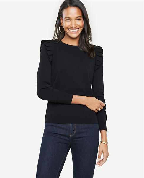 Ann Taylor shoulder ruffle sweater in black