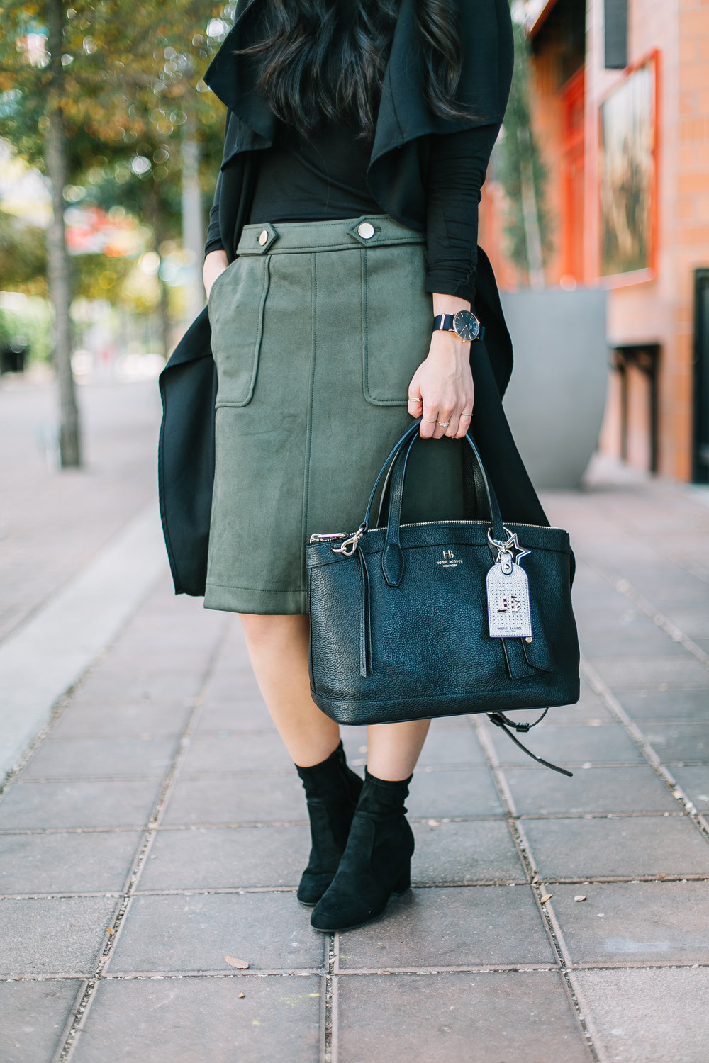 the suede skirt & sock booties -- jannadoan.com