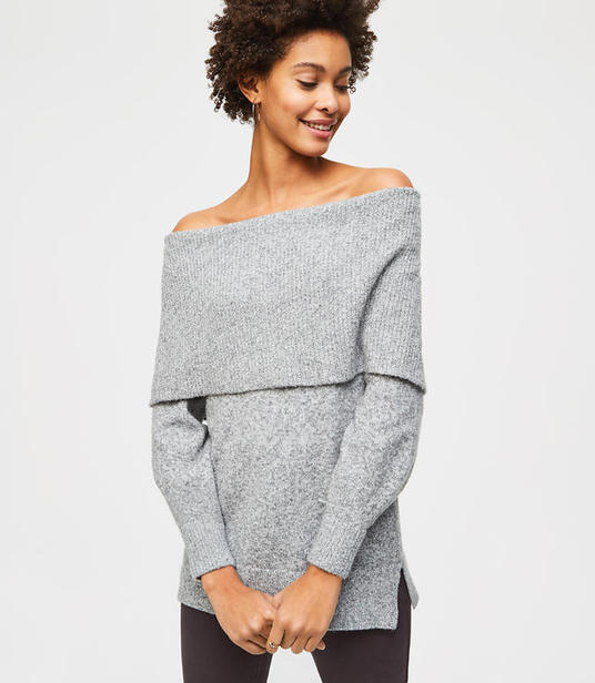LOFT foldover off the shoulder sweater
