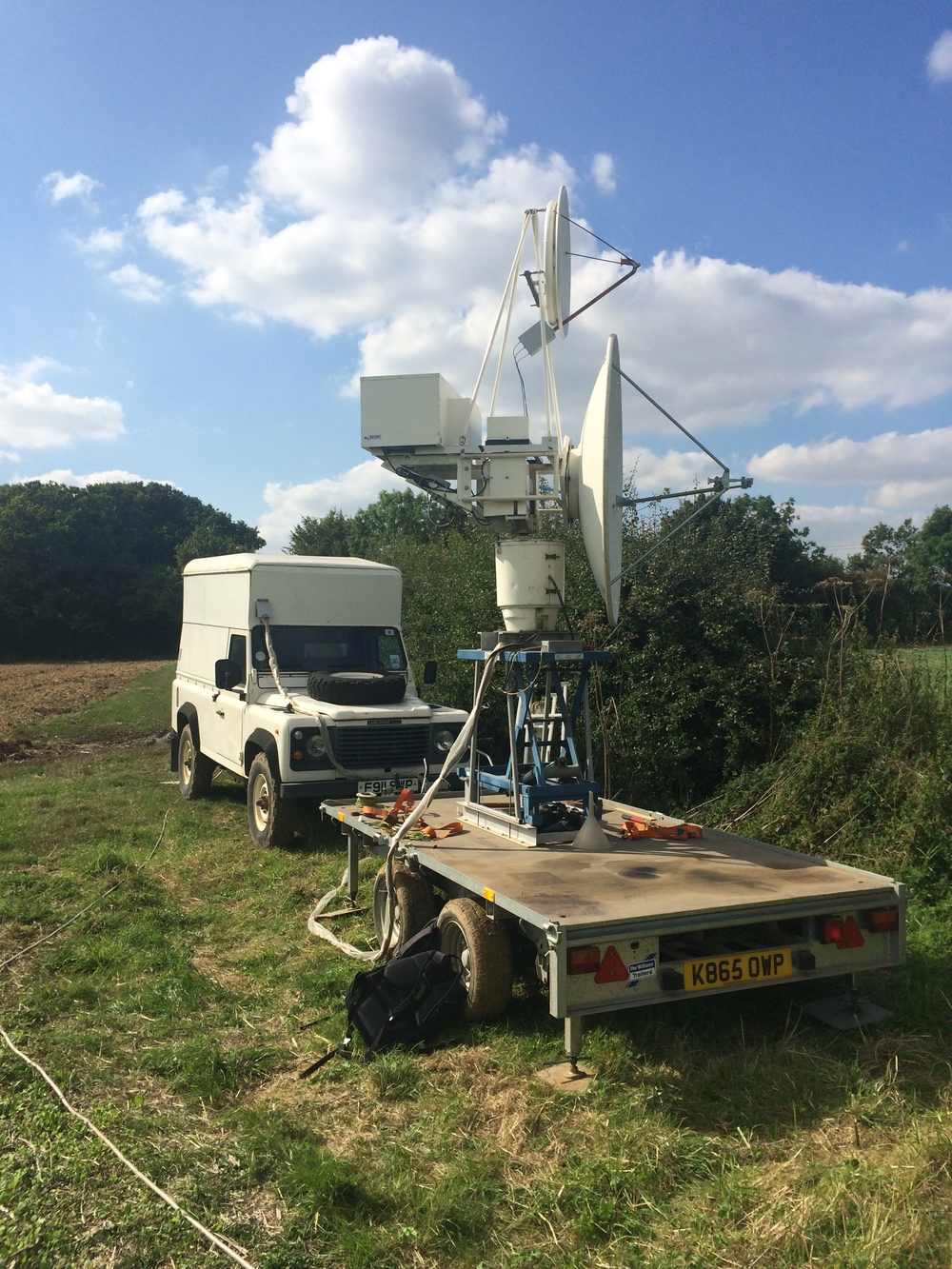The trailer-mounted harmonic radar at Rothamsted Research.