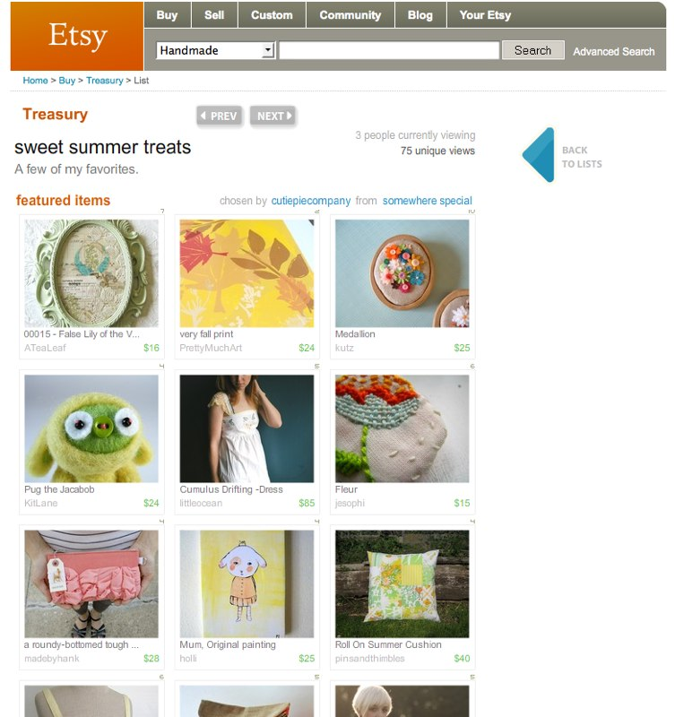 Etsy Treasury - sweet summer treats