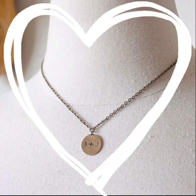 Personalized initials stamped charm necklace