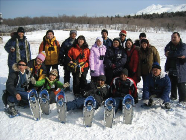 Fieldwork In Hokkaido in the snow is fun. Esther is squatting, second from left.