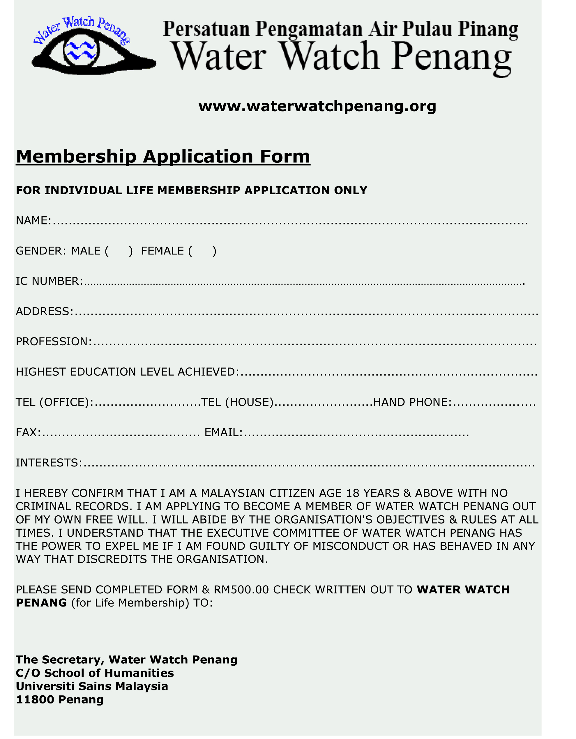 Individual Life Member   RM500  Download  form