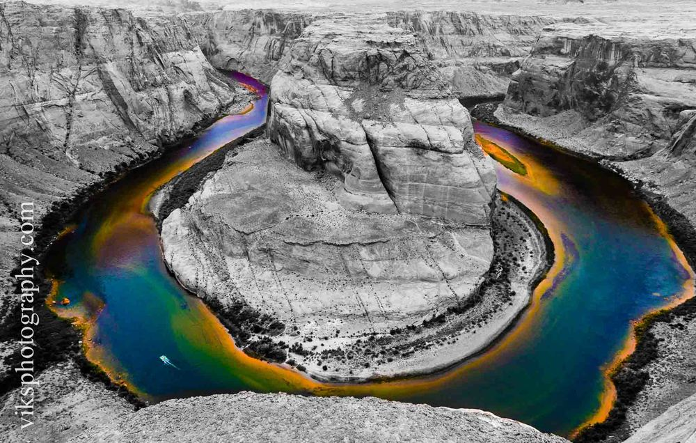 I have blogged earlier about the Horseshoe bend located in Page, Arizona. This is the same picture and processed differently in the Lightroom 5. I did not start from scratch and used the previous image as base image. Then neutralized all the colors using saturation sliders to their lowest value which basically takes out all the colors. Then I worked a bit on shadows and highlights to bring out higher contrasts. And finally, used the selective adjustment brush to bring back the colors in the water by bumping up saturation and vibration significantly.
