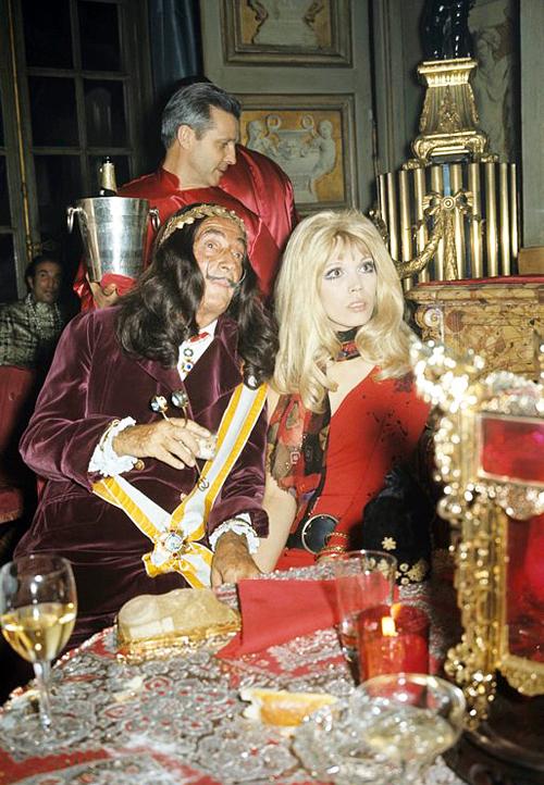 the60sbazaar :     Salvador Dali and Amanda Lear at a Paris party